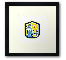 Plumber Wielding Plunger Wrench Shield Cartoon Framed Print