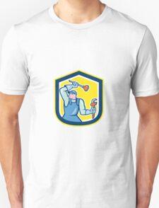 Plumber Wielding Plunger Wrench Shield Cartoon T-Shirt