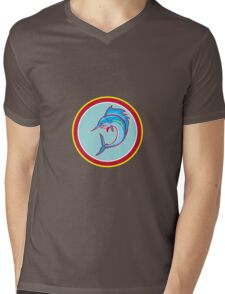 Sailfish Fish Jumping Circle Cartoon Mens V-Neck T-Shirt