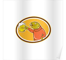 Trout Fish Holding Beer Mug Oval Cartoon Poster