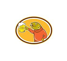 Trout Fish Holding Beer Mug Oval Cartoon Photographic Print
