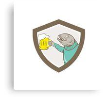 Trout Fish Holding Beer Mug Shield Cartoon Canvas Print