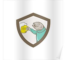 Trout Fish Holding Beer Mug Shield Cartoon Poster