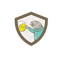 Trout Fish Holding Beer Mug Shield Cartoon Photographic Print