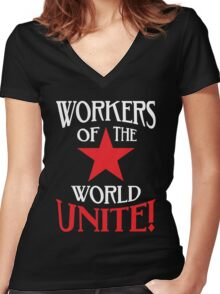 Workers of the World Unite - Red Star & Slogan Women's Fitted V-Neck T-Shirt
