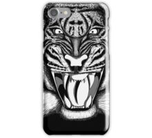 Raging Tiger - Black & White Edition (Comic Book Style) iPhone Case/Skin