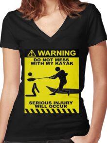 Kayak Warning! Women's Fitted V-Neck T-Shirt
