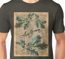 Oak Tree Leaves And Acorns, Autumn Vintage  Dictionary Art Unisex T-Shirt