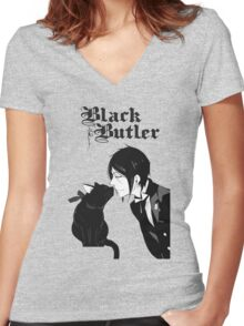 black butler Women's Fitted V-Neck T-Shirt
