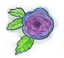 Watercolor Blue Rose by Kellee Carr