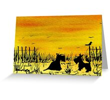 Scottie Dogs 'Beach Sunset' watercolour Greeting Card