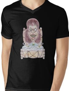 Horror Movie Possessed Caricature Mens V-Neck T-Shirt