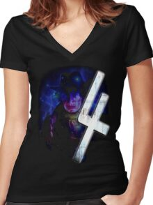 Dr Who The Fourth Doctor T-Shirt Tom Baker Women's Fitted V-Neck T-Shirt