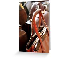 old leather handbags women Greeting Card