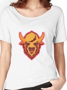 Buffalo Head Mascot Emblem. Women's Relaxed Fit T-Shirt