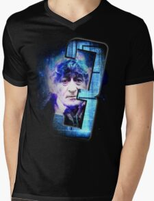 Dr Who The Third Doctor Jon Pertwee T-Shirt Mens V-Neck T-Shirt