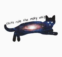 cats rule the milky way Kids Clothes