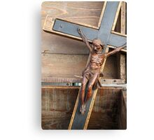 wooden crucifix Canvas Print