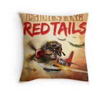 "WINGS Series ""P-51 RED TAILS"" Throw Pillow"