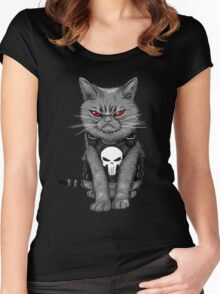 cat  punisher  Women's Fitted Scoop T-Shirt