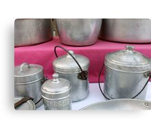 old pots and pans in the kitchen Canvas Print