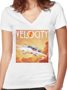 """WINGS Series """"VELOCITY"""" Women's Fitted V-Neck T-Shirt"""