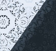 Lace Inspired Elegant Pattern - Navy Blue and White Sticker