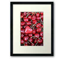cherries with heart love Framed Print