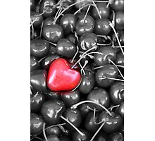 cherries with heart love Photographic Print