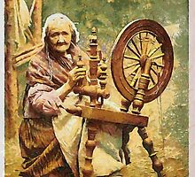A digital painting of an Irish Spinner and Spinning Wheel. County Galway 19th century by Dennis Melling