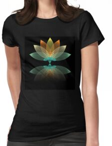 Transparent lily on black Womens Fitted T-Shirt