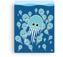Bloom of blue jellyfish Canvas Print