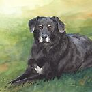 black dog on the lawn watercolor by Mike Theuer
