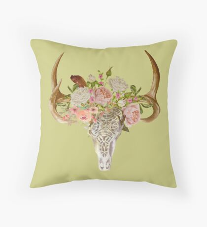 Skull & Flowers Throw Pillow