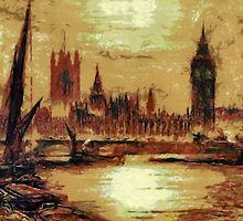 A digital painting of the Houses of Parliament from the River Thames, London, England] by Dennis Melling