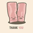 Happy Kawaii Bacon Thank You Card by Lisa Marie Robinson