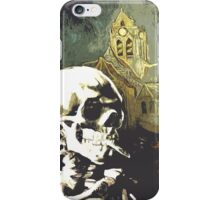 Skull with burning cigarette at Auvers church  iPhone Case/Skin