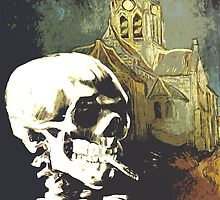 Skull with burning cigarette at Auvers church  by filippobassano