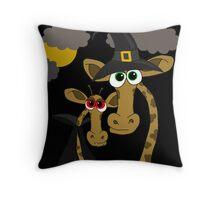 Halloween giraffe party Throw Pillow