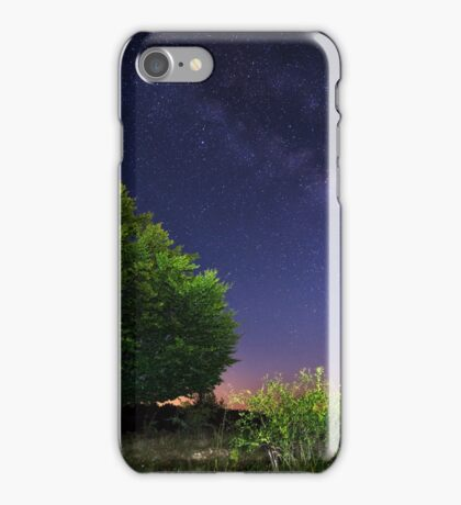Milky Way over a large tree iPhone Case/Skin