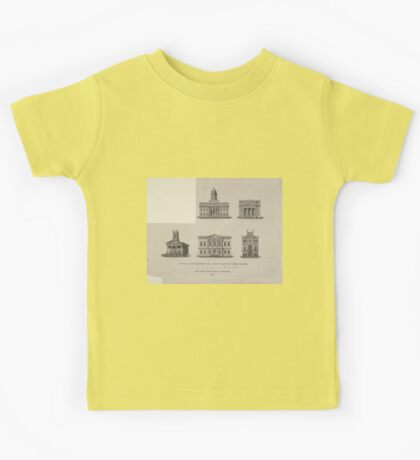459 Public buildings in the City of New York Buildings shown are Merchant's Exchange Wall Street 2nd Unitarian Church Mercer C Prince Jew's Synagogue Elm Street US Branch Bank_ Kids Tee