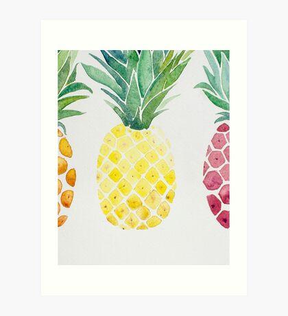 Tropical Pineapple Fruit Trio Art Print