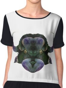 Stylized cow bull head. Abstract art drawing style Chiffon Top