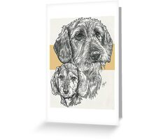 Dachshund, wire-haired, Father & Son Greeting Card