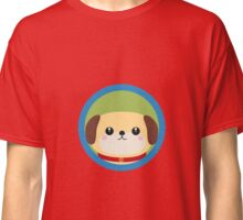Cute puppy dog with blue circle Classic T-Shirt