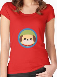 Cute puppy dog with blue circle Women's Fitted Scoop T-Shirt