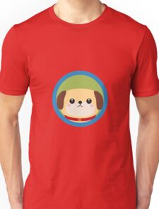 Cute puppy dog with blue circle Unisex T-Shirt