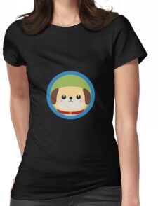 Cute puppy dog with blue circle Womens Fitted T-Shirt