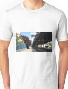 Train Bridge Road Sidewalk Trees Unisex T-Shirt