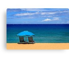 Two Chairs And An Umbrella Canvas Print